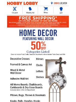 Hobby Lobby - Free Shipping for You!