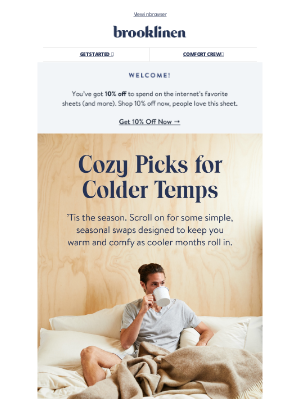 Brooklinen - Cozy, warm, and soft...