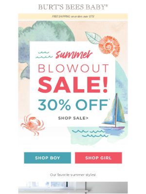 Burt's Bees Baby - TODAY! Summer Blow Out Sale | 30% off summer styles!