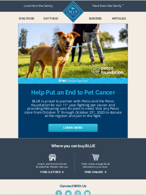 Blue Buffalo - lillian, join BLUE™ in the Fight Against Pet Cancer.