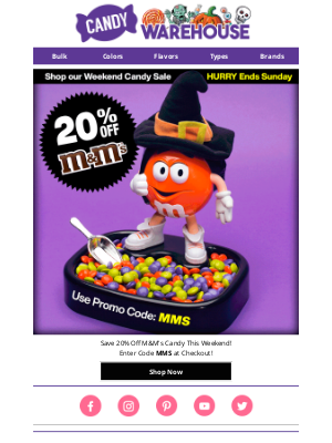 CandyWarehouse - M&M's 20% Off - This Weekend Only!
