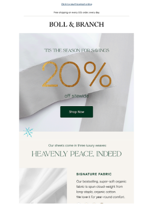 Boll & Branch - It's not a dream: take 20% off our heavenly sheets