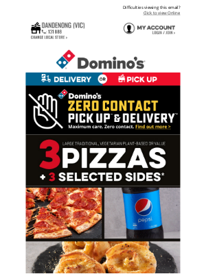 Domino's Pizza Enterprises (AU) - Saturday Savings 👉 3 Large Pizzas + 3 Sides From $35.95* Delivered! 😍