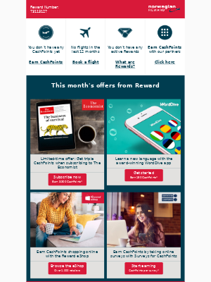 Hi, Fred! Here's your CashPoint balance and this month's offers from Reward
