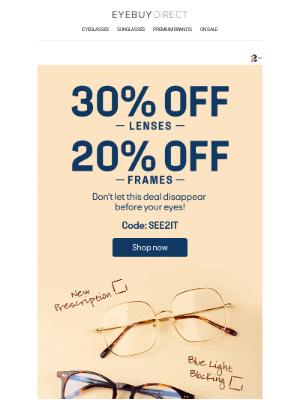 EyeBuyDirect - Last Call! 30% OFF LENSES + 20% OFF FRAMES ⏰