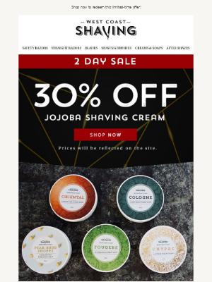 A Shaver's Dream: 30% Off WCS Jojoba Shaving Cream 🤩