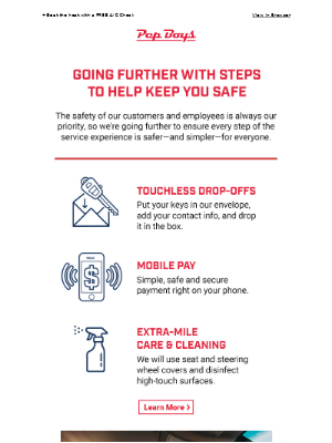 Pep Boys - For Your Safety: Touchless Drop-Offs, Mobile Pay, and More