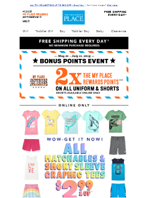 DIVE INTO SUMMER WITH $2.99 & UP SHORT SLEEVE GRAPHICS & MATCHABLES!