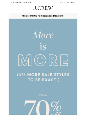 Discover 375 new-to-sale styles, up to extra 70% off
