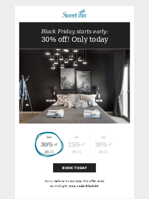 Black Friday starts TODAY - 30% OFF all our apartments