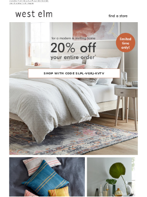 Create a home you LOVE: 20% off built-to-last furniture, decor + more!