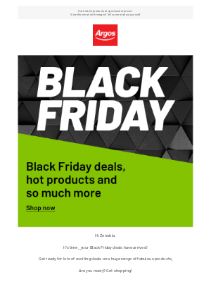 Argos (UK) - Zenobia, it's official...your Black Friday deals are here!
