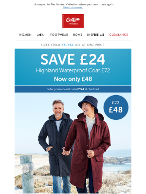 Cotton Traders - SAVE £24 on our winter-ready Highland Waterproof Coat!