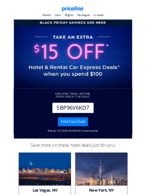 Priceline - Pre-Black Friday: Email Exclusive Sale!