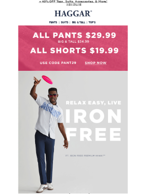 Haggar Clothing Co. - ENDS SOON ⏰ 2 for $60 Pants + Shipping On Us!