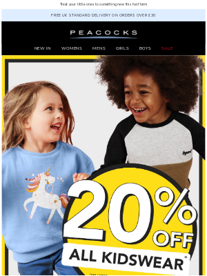 Peacocks (UK) - Treat your little ones for less😍