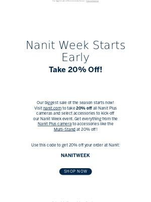 🎉Take 20% off your entire order for Nanit Week!