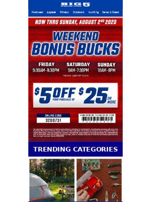 $5 off $25 - Now thru Sunday!