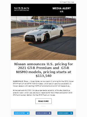 Nissan - Nissan announces U.S. pricing for 2021 GT-R Premium and  GT-R NISMO models, pricing starts at $113,540