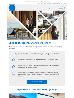 Hyatt Hotels - Reminder: Register to Earn up to 4X Points with Bonus Journeys