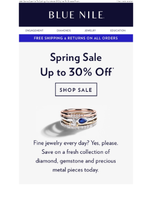 Spring Sale 🎉 Up To 30% Off Diamond Jewelry & More!