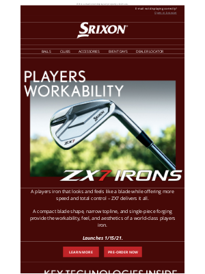 Srixon - Ultimate Workability | Srixon ZX7 Irons