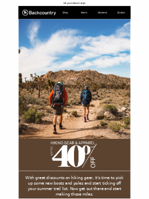 Take Up to 40% Off Summer Hiking Gear & Apparel