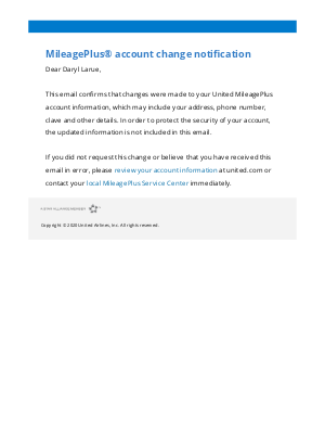 United Airlines - Your MileagePlus account information has changed