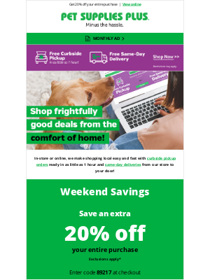 Pet Supplies Plus - Shop frightfully good deals for your dog from the comfort of home!