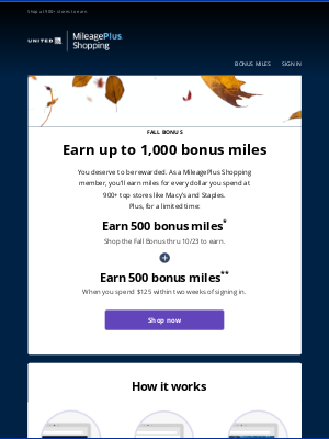 United Airlines - Earn up to 1,000 bonus miles just for shopping
