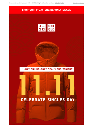UNIQLO - Celebrate 11.11 with new 1-day only deals from $19.90!