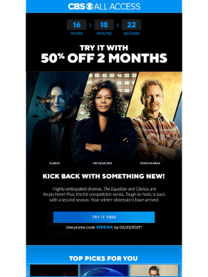 CBS - Last chance to redeem an exclusive offer & stream a new favorite!