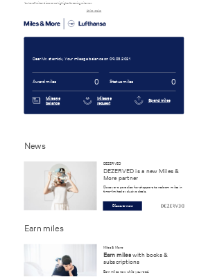 Lufthansa - Your current mileage balance in March