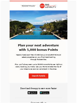 Rocketmiles - Earn 5,000 bonus AirAsia BIG Points when you book a hotel