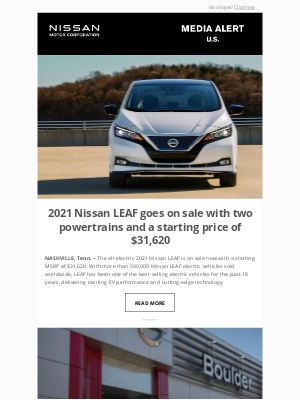 Nissan - 2021 Nissan LEAF goes on sale with two powertrains and a starting price of $31,620