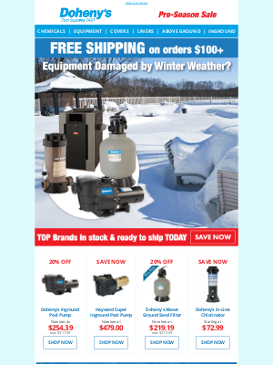 Doheny's Pool Supplies Fast - 🥶 It's (Still) Cold Outside - Get Replacement Equipment NOW!