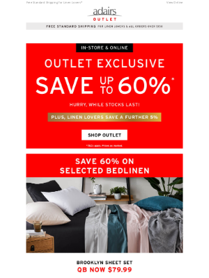 Adairs (AU) - OUTLET EXCLUSIVE   Save up to 60%