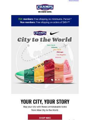 Champs Sports - Nike City to the World is the boldest way to rep your city 🌆👟