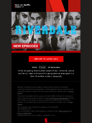 MailCharts, Riverdale Season 4 is now on Netflix