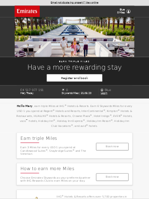 Emirates - Stay and earn triple Miles at IHG® Hotels & Resorts
