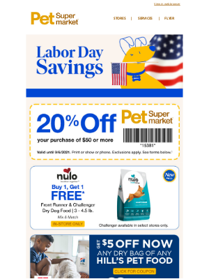 Pet Supermarket - Hey there, 👋 20% Off Labor Day Ends TODAY!