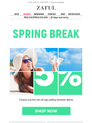 Zaful - Save up to 65% for a nice Spring Break