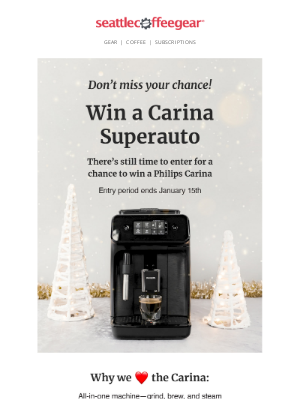 Seattle Coffee Gear - Don't Miss Our Carina Giveaway!🌟