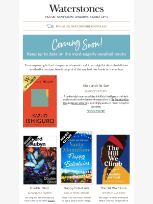 Waterstones (UK) - A Feast Of Great Books Coming Soon