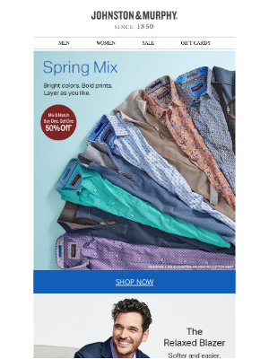 Johnston & Murphy - Spring Mix: Buy One, Get One 50% Off