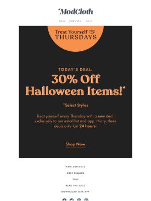 ModCloth - Un-boo-lievable: 30% off Halloween! 👻