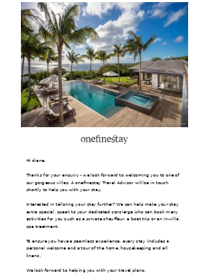 onefinestay - diane, your onefinestay enquiry