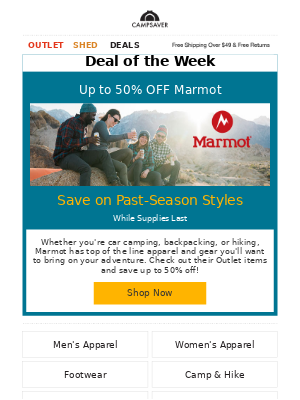 CampSaver - Up to 50% OFF Marmot Outlet Items