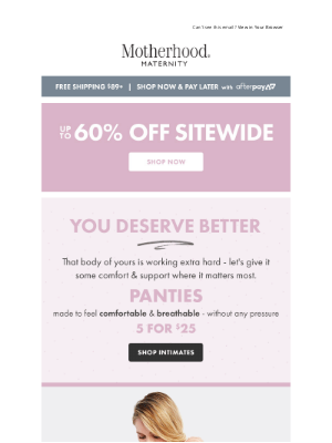 Destination Maternity - 5 for $25 Panties & Buy 3, Get 1 Bras