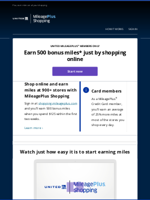 United Airlines - If you don't shop soon you'll miss out on 500 bonus award miles